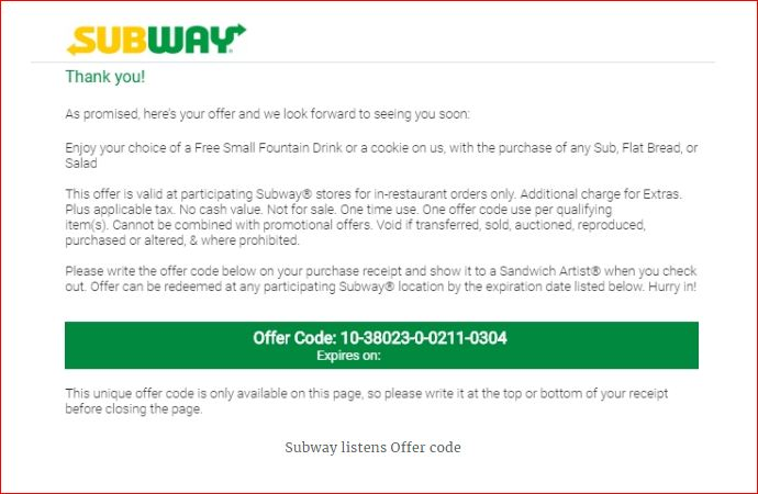 Subway Survey Rewards