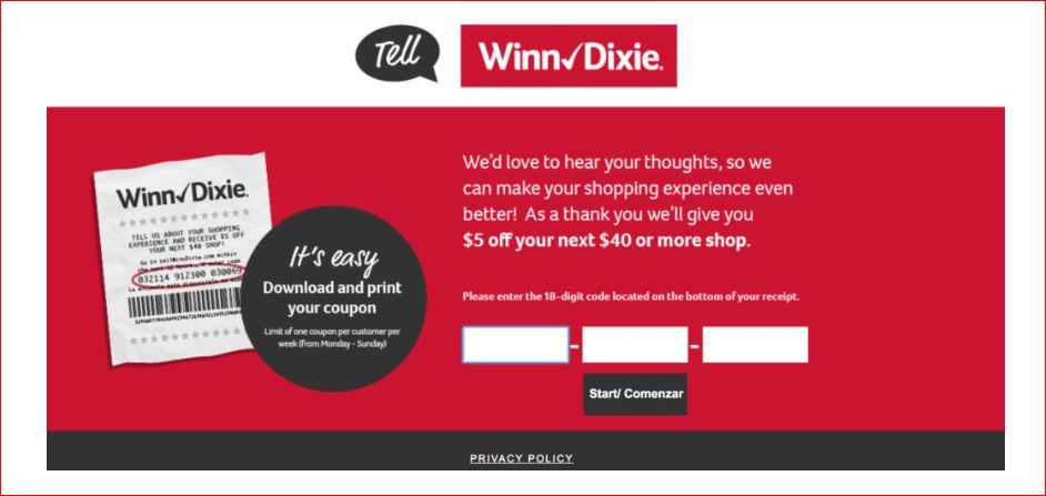 Winn-Dixie Survey Home Page