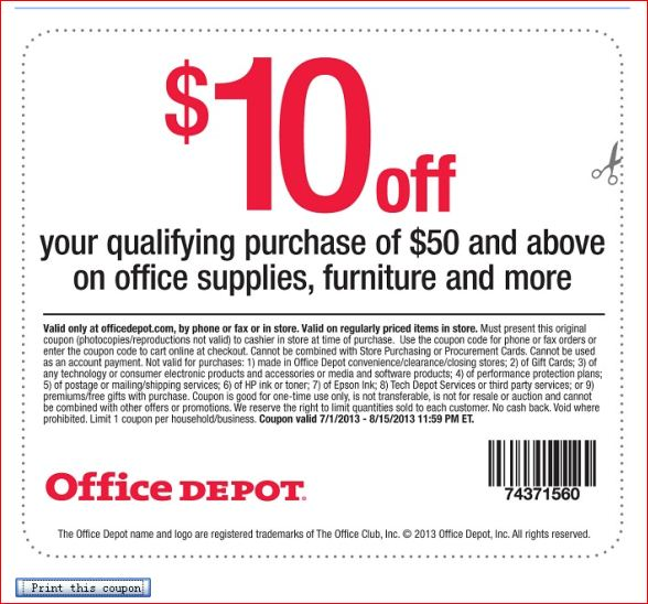 Office Depot Reward Coupon