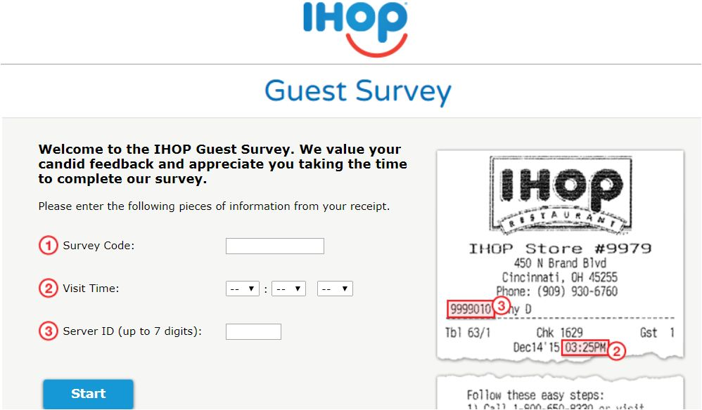 IHop Survey Steps