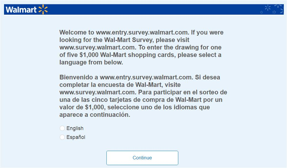Wallmart Survey Steps
