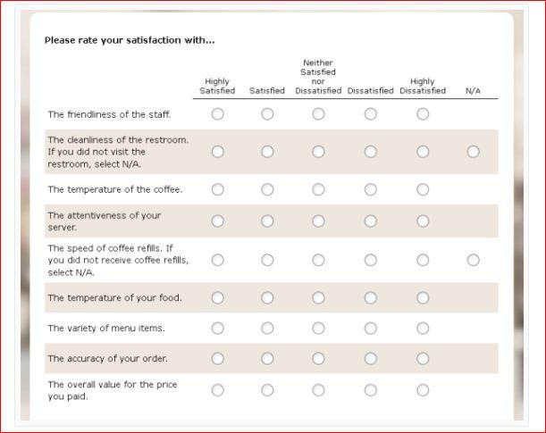 Denny's Customer Feedback Survey