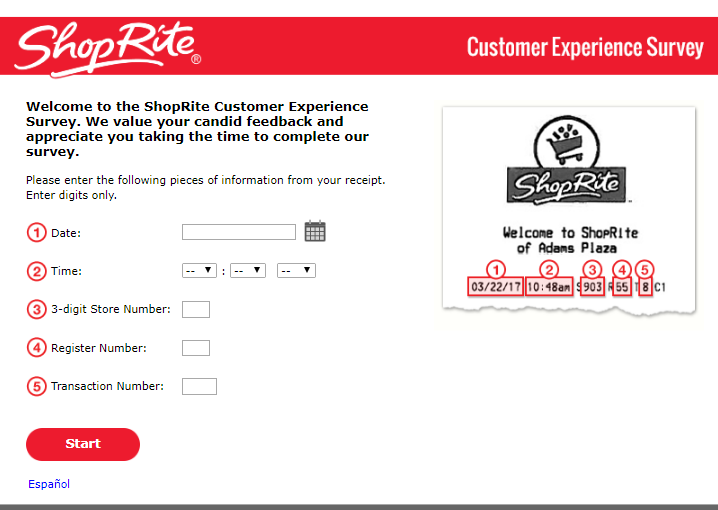 shoprite survey homepage