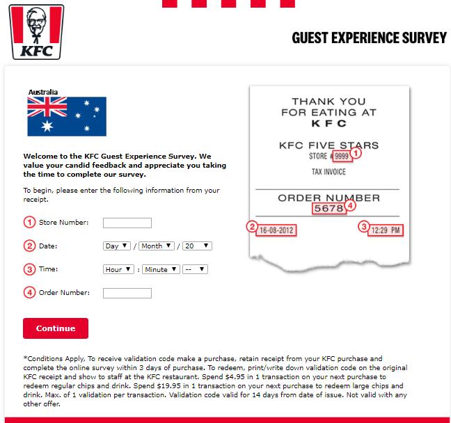 KFC survey australia step1