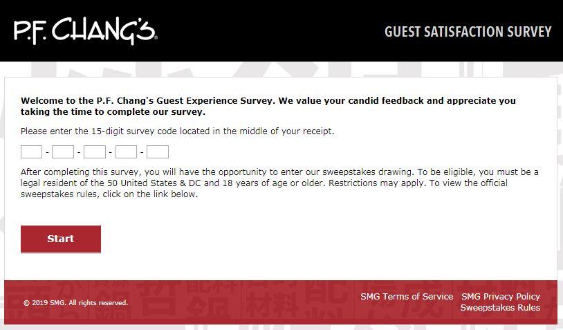 PF changs survey