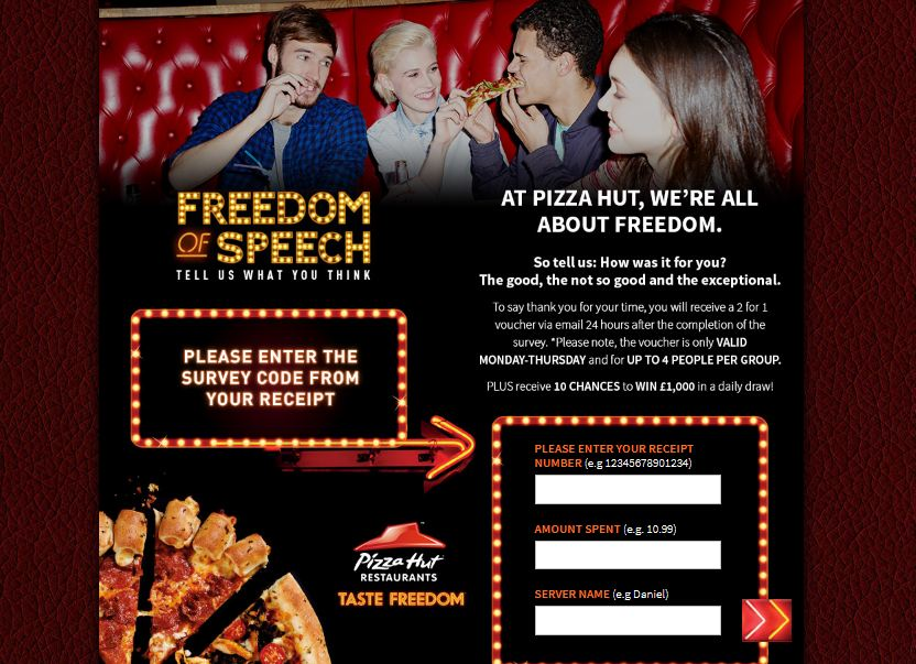 pizza hut survey uk