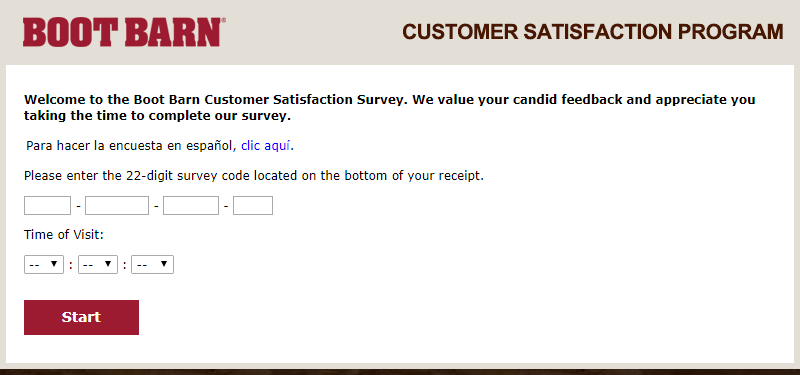 boot barn survey homepage