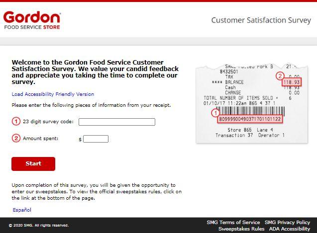 Gordon Food Survey