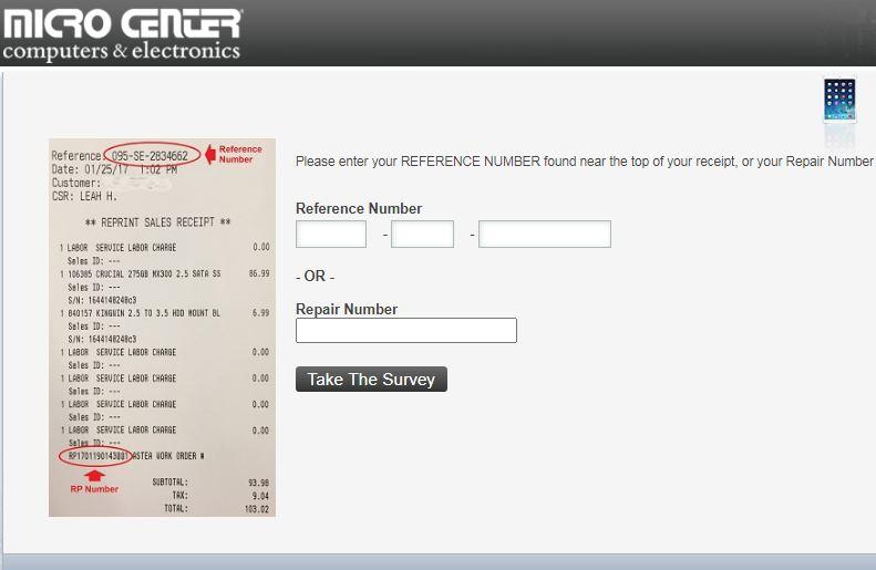 Micro Center Survey