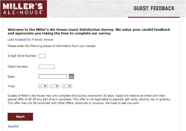 Miller's Ale House Survey